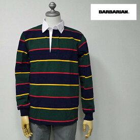 【2/23 23:59までポイント7倍】BARBARIAN(バーバリアン) DFS-04 メンズ レギュラーカラー長袖ラガーシャツ NAVY(紺)×GOLD(黄)×BOTTLE(緑)×RED(赤)ボーダー柄 S M Lサイズ