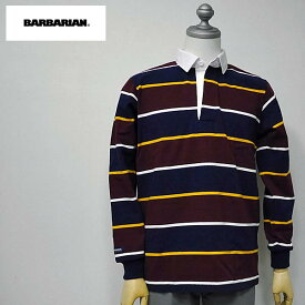 【11/27 23:59までポイント7倍】BARBARIAN(バーバリアン) NFS-01 メンズ レギュラーカラー長袖ラガーシャツ NAVY(紺)×GOLD(黄)×HARVARD(赤茶)×WHITE(白)ボーダー柄 S M Lサイズ
