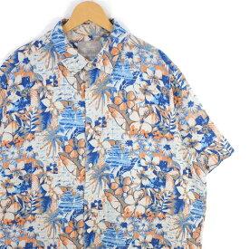 大きいサイズ メンズ2XL MARGARITAVILLE シルク&リネン混紡 半袖アロハシャツ ボックス型 ハワイアンシャツ シルクシャツ メンズ US-XXLサイズ 胸囲133cm ハイビスカス柄 マルチカラー系 hs-8432 BIGサイズ USED 古着 【中古】