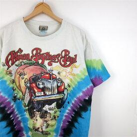 大きいサイズ メンズUS-Lサイズ 90's The Allman Brothers Band タイダイ染め 半袖Tシャツ クルーネック 胸囲約114cm ビンテージ オールマンブラザーズバンド サザンロック バンドT ホットロッド アメリカ古着 USED BIG t-1909n【中古】
