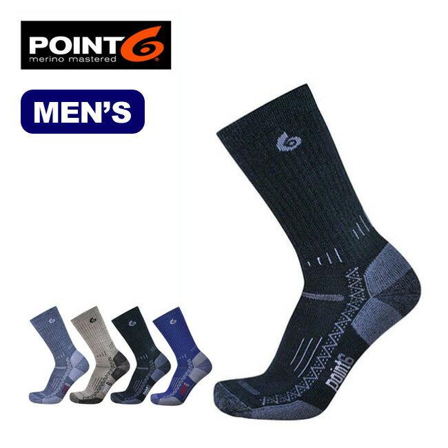 ポイントシックス POINT6 ハイキングテックミディアムクルー メンズ 男性用 靴下 ソックス ウール スパンデックス アウトドアポイント6