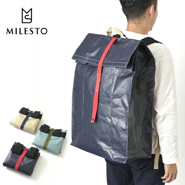 ミレスト MILESTO ユーティリティー PEバックパック バックパック 鞄 バッグ リュック 折りたたみ ギア 収納 軽量 丈夫 ポリエチレン シンプル PEシリーズ MLS519 17FW