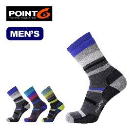 ポイントシックス ハイキングミックスストライプミディアムクルー POINT6 Hiking Mix Stripe Medium Crew メンズ 靴下 ソックス ハイキング トレッキング アウトドア タウンユース ポイント6 17FW