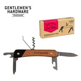ジェントルマンハードウェア ペンナイフマルチツールウッドハンドル&チタン仕上げ Gentlemen's Hardware Pen Knife Multi Tool GEN272 栓抜き コルク抜き ドライバー キャンプ アウトドア フェス【正規品】