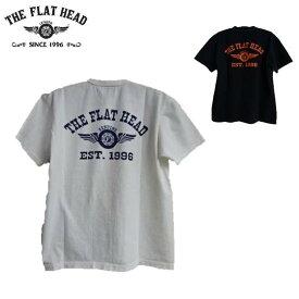 """セールTHE FLAT HEAD☆(2018)THC-202フライングホイールプリント丸胴クルーネックTシャツ""""FH FLYING WHEEL""""3本針1本外 NEW THCシリーズ(フラットヘッド)FLATHEAD THC202"""
