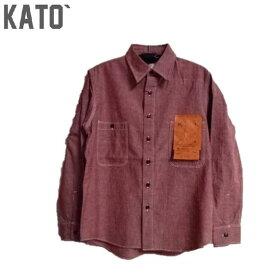 KATO`長袖(レッド)セルビッチシャンブレーワークシャツ (mens)KS930182-401 KATO'(カトー)KATO デニム