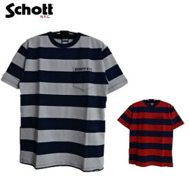 セール Schott(2019)胸ポケット半袖ワイドボーダーTシャツWIDE BORDER POCKET T-SHIRT 3193067 Schottショット