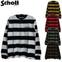 セール Schott(2019)胸ポケット長袖ワイドボーダーポケットTシャツ ロンT WIDE BORDER LONG SLEEVE POCKET T-SHIRT 3183063 Schottショット