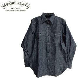 WAREHOUSE Lot.3023チンストラップ付シャンブレーワークシャツ CHAMBRAY SHIRTS WITH CHINSTRAP NON WASH WHSH-19SS001(ウエアハウス)WARE HOUSE【ウェアハウス】