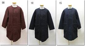 ●prit 【プリット】 シルクネップウール平織中綿入りノーカーラーコート 60901