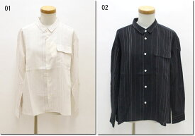 ●OUVERT 【ウーヴェル】 Cu/Re/Si タフタストライプ レギュラーシャツ 2050644