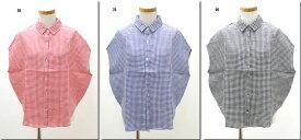 ●mao made 【マオメイド】  リネンギンガムレギュラーカラーシャツ 321319A