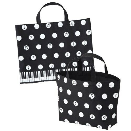 Piano line ボタンで2way水玉トート ♪お取り寄せ商品です。♪♪ 【ピアノ発表会 記念品 に最適♪】音楽雑貨 ねこ雑貨 バレエ雑貨 ♪記念品に最適 音楽会粗品