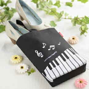 Piano line シューズケース(ハピリー) ♪お取り寄せ商品です。♪♪ 【ピアノ発表会 記念品 に最適♪】音楽雑貨 ねこ雑貨 バレエ雑貨 ♪記念品に最適 音楽会粗品