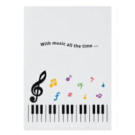 Piano line クリアファイル カラフル音符 ト音記号 お取り寄せ商品 ピアノ発表会 記念品 音楽雑貨 ねこ雑貨 バレエ雑貨 記念品に最適 音楽会粗品