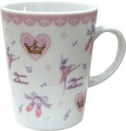 バレエ柄がキュート♪pointe陶器マグカップ ピンク♪※この商品はお取り寄せ商品です♪【バレエ発表会の記念品に最適♪】お取り寄せ 大量注文できます♪音符 ト音記号 楽譜