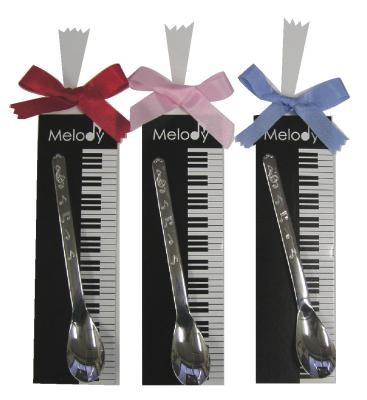 メロディー・プチギフト 音符模様がかわいい♪スプーン1本セット♪お取り寄せ商品です♪【音楽雑貨 音符・ピアノモチーフ】【バレエ発表会の記念品に最適♪】お取り寄せ 大量注文できます♪音符 ト音記号 楽譜