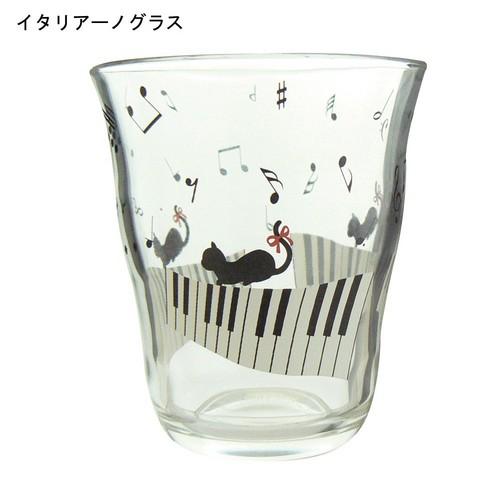 新商品 猫と音符イタリアーノグラス♪【音楽雑貨 音符・ピアノモチーフ】♪※この商品はお取り寄せ商品です♪【バレエ発表会の記念品に最適♪】お取り寄せ 大量注文できます♪音符 ト音記号 楽譜