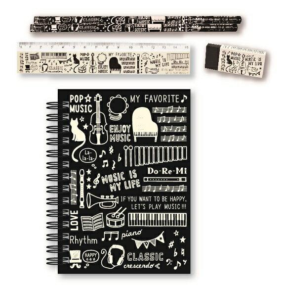 MUSIC LIFE リングメモ文具セット♪お取り寄せ商品です。♪♪ 【ピアノ発表会 記念品 に最適♪】音楽雑貨 ねこ雑貨 バレエ雑貨 ♪記念品に最適 音楽会粗品