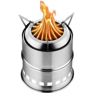 キャンプストーブ CANWAY ウッドストーブ バックパッキングコンロ 五徳コンロ 焚火台 薪 携帯用コンパクト ステンレスストーブ 二次燃焼 燃料不要 収納パック付