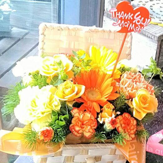 母の日 プレゼント 花 フラワーアレンジメント バスケット Mサイズ