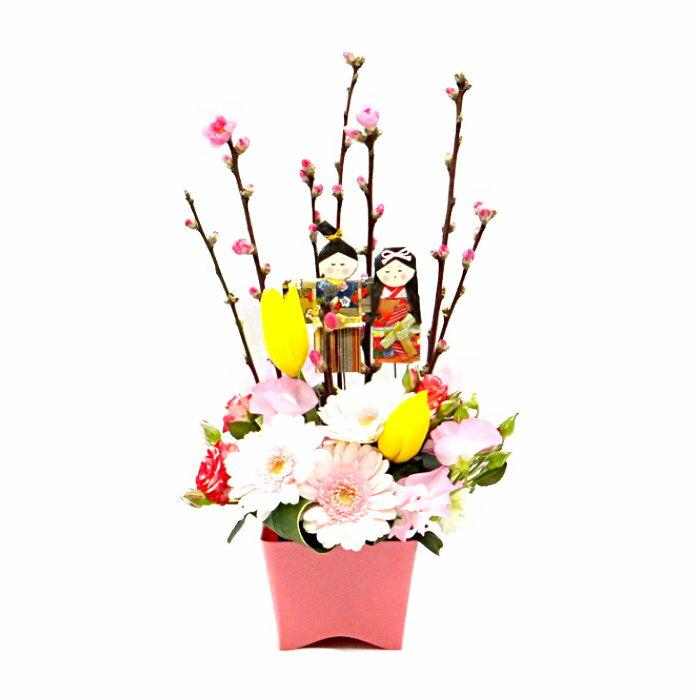 ひな祭り おひなさまのフラワーアレンジメント 桃の花 初節句 女の子 プレゼント