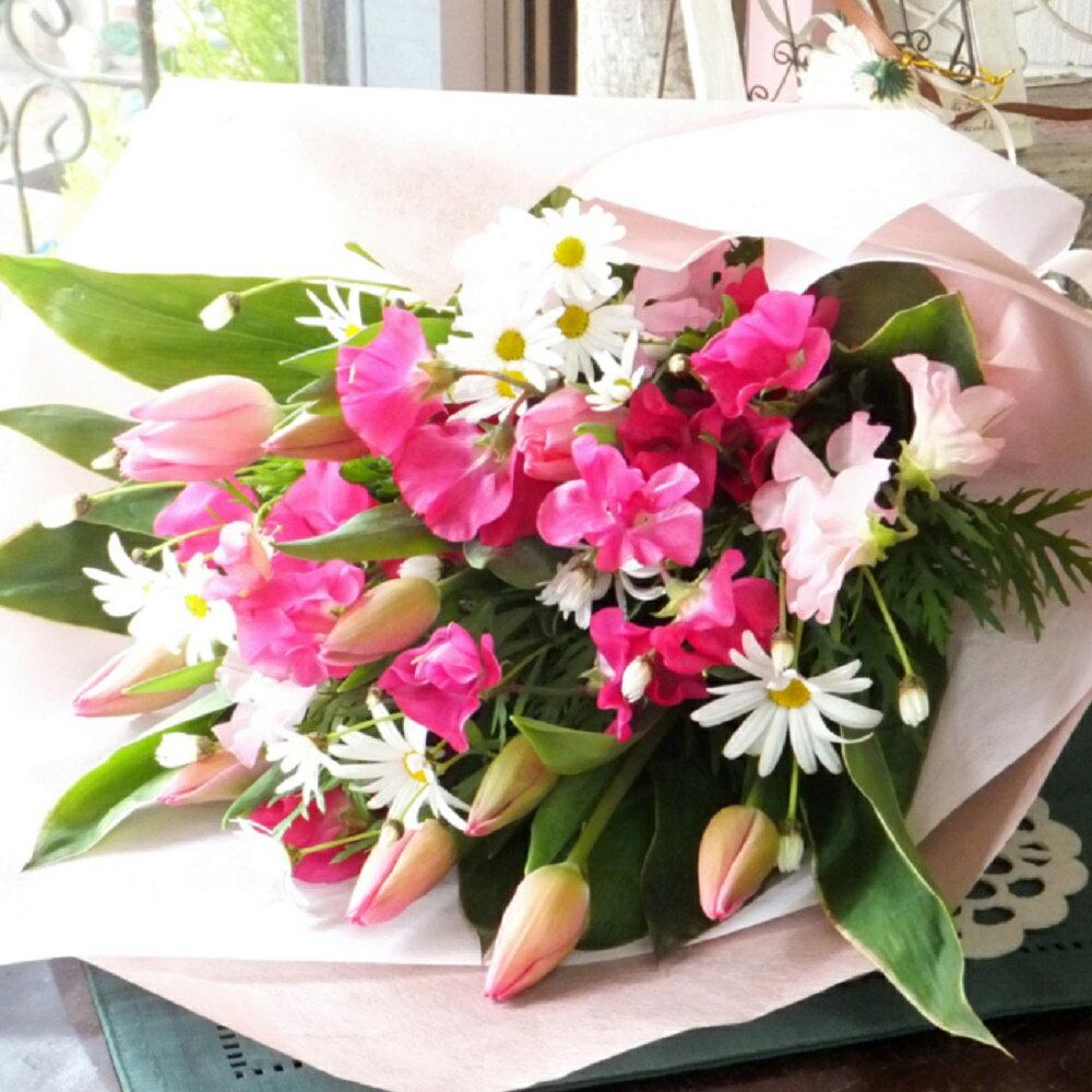 チューリップとスイトピーの花束 プレゼント 誕生日 卒業祝い・退職祝いに送別会 贈り物