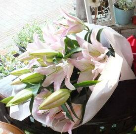 花束 プレゼント 退職祝い 送別会 お礼豪華ユリの花束 5本 25輪 誕生日 記念日 ギフト