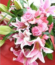 お祝い ギフト 花束 プレゼント ピンクユリ・バラ・ガーベラの華やか花束 Lサイズ 長寿祝い 誕生日 開店