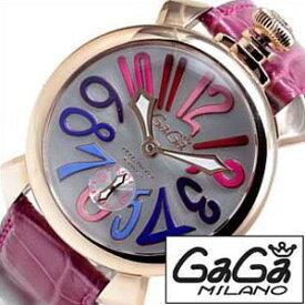 [あす楽]ガガミラノ腕時計 [GAGAMilano時計](GAGA Milano 腕時計 ガガ ミラノ 時計 ) マヌアーレ プラカットオロ スイスメイド (MANUALE 48MM PLACCATO ORO SWISS ) 時計 シルバー 女性 レディース [ ギフト プレゼント 彼女 誕生日 高級ブランド 革ベルト レザー ピンク ]