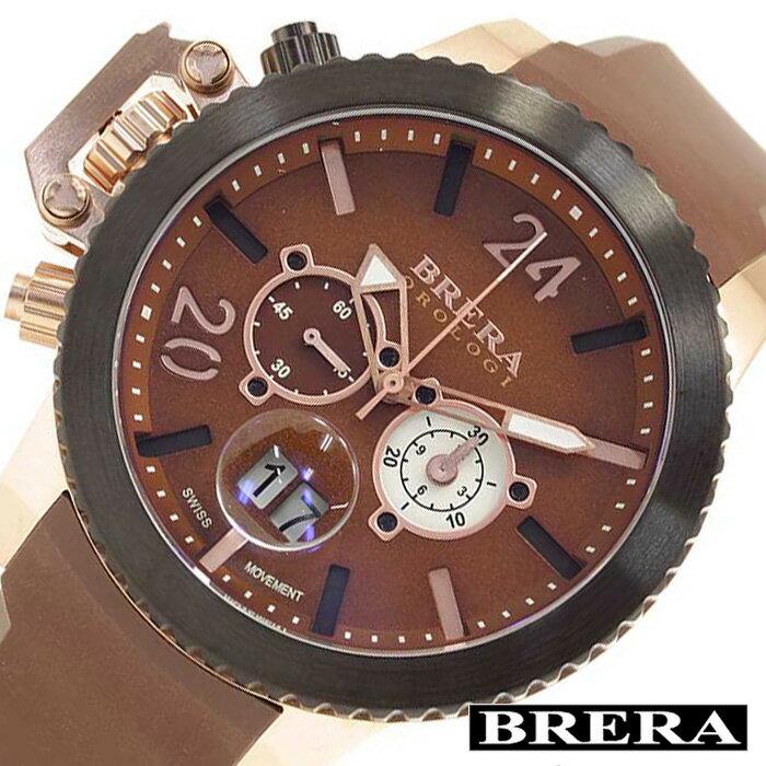 ブレラオロロジ腕時計 BRERAOROLOGI時計 BRERA OROLOGI 腕時計 ブレラ オロロジ ミリターレ 時計 MILITARE メンズ ブラウン ホワイト ローズゴールド BRML2C4804 [アナログ ダイバーズ ブラウン オロロージ 茶 ギフト プレゼント][ おしゃれ ブランド ]