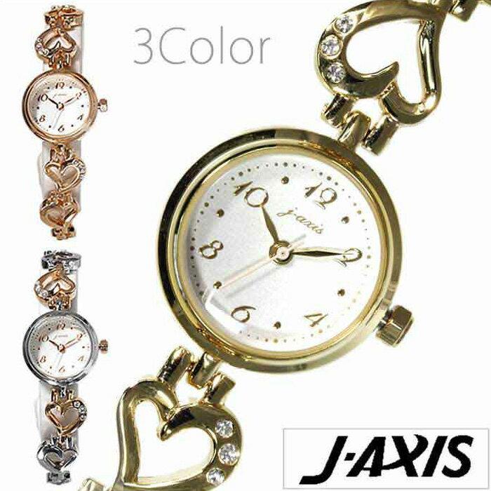 ジェイアクシス腕時計 J-AXIS時計 J-AXIS 腕時計 ジェイアクシス 時計 レディース ホワイト BL1027 [ブレスウォッチ おしゃれ チェーン かわいい ハート ラインストーン キラキラ ピンク ローズ ゴールド 銀 シルバー j-axis][ギフト プレゼント ご褒美][新生活 社会人]