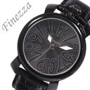 フィネッツァ腕時計 Finezza 腕時計 フィネッツァ 時計 レディース ブラック 革ベルト ビッグケース 40MM レザー 大き…