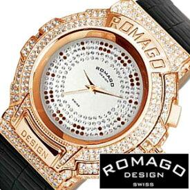 ロマゴデザイン腕時計[ROMAGODESIGN時計](ROMAGO DESIGN 腕時計 ロマゴ デザイン 時計) (Trend series) メンズ レディース シルバー RM025-0256ST-RGBK[クリスタル ストーン ミラーウォッチ ブラック ピンク ゴールド 黒 桃 金 3針 ブランド プレゼント]