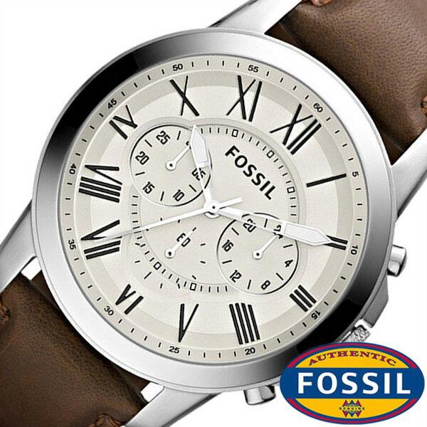 フォッシル腕時計 FOSSIL時計 FOSSIL 腕時計 フォッシル 時計 グラント GRANT メンズ ホワイト FS4735 [革 ベルト クロノ グラフ ブラウン シルバー アイボリー クリーム ファッション 人気 ギフト プレゼント ご褒美][おしゃれ 腕時計][新生活]