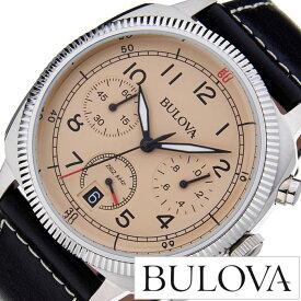 [あす楽]ブローバ 腕時計 [BULOVA時計]( BULOVA 腕時計 ブローバ 時計 ) ミリタリー ( MILITARY ) メンズ 腕時計 アイボリー 96B231 [革 ベルト クロノグラフ クォーツ アナログ ブラック シルバー おしゃれ ブランド プレゼント ギフト ] 誕生日 冬ギフト