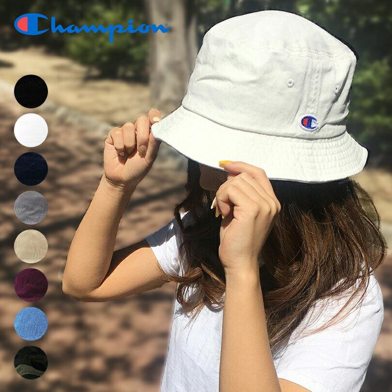 【ゆうパケット送料無料】チャンピオン バケットハット Champion キャップ ロゴ CAP ブラック ホワイト グレー 帽子 メンズ レディース ストリート