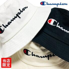 【ゆうパケット送料無料】チャンピオン バケットハット Champion 別注 バケハ バケット キャップ ロゴ CAP ブラック ホワイト ベージュ 帽子 メンズ レディース ストリート