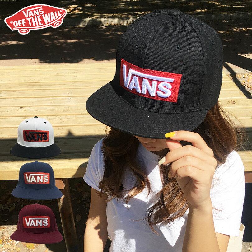 VANS キャップ cap バンズ ヴァンズ 帽子 送料無料 スナップバック ブラック LOGO SNAPBACK ロゴ ボックス バー メンズ レディース スケート スケーター シュプリーム