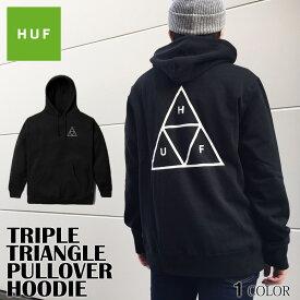 HUF ハフ パーカー 送料無料 トリプルトライアングル プルオ−バー TRIPLE TRIANGLE PULLOVER フーディー スウェット ブラック トップス スケート