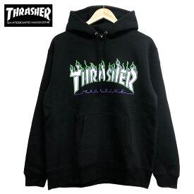 スラッシャー パーカー THRASHER 送料無料 JOKER FLAME HOODIE プルオーバー フレームロゴ ブラック トップス メンズ レディース アウター