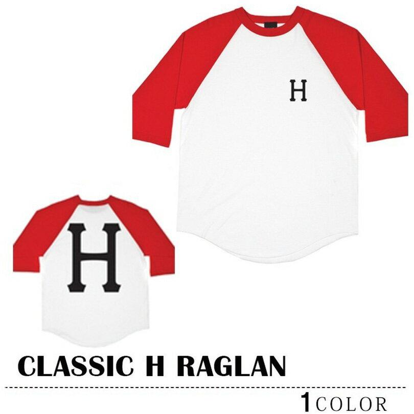 ※HUF-Tシャツ袋対象※【ゆうパケット送料180円】 HUF ハフ Tシャツ ラグラン ホワイト×レッド トップス CLASSIC H RAGLAN スケート 02P08Feb15
