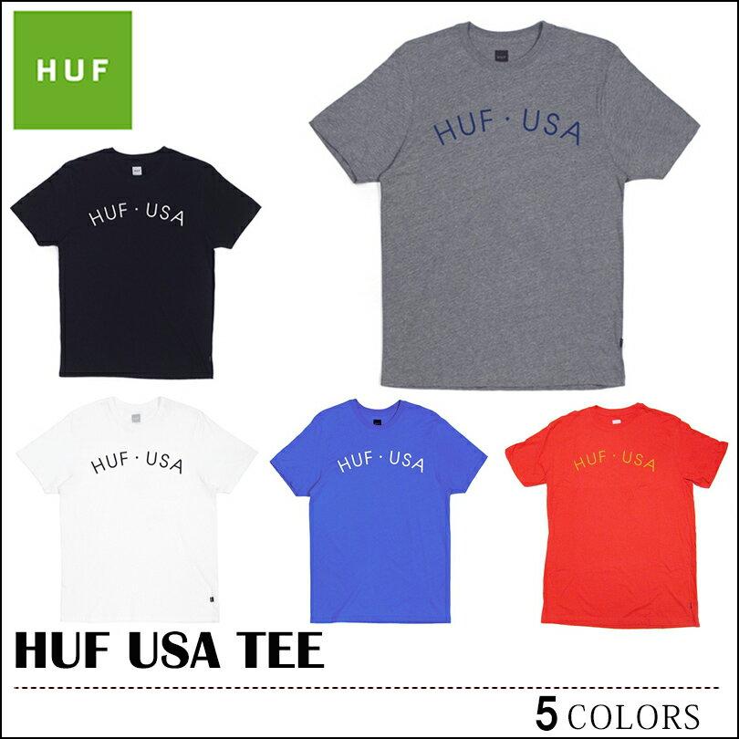 ※HUF-Tシャツ袋対象※【ゆうパケット送料180円】 HUF ハフ Tシャツ USA TEE グレー ブラック ホワイト ロイヤル レッド トップス メンズ レディース 02P08Feb15
