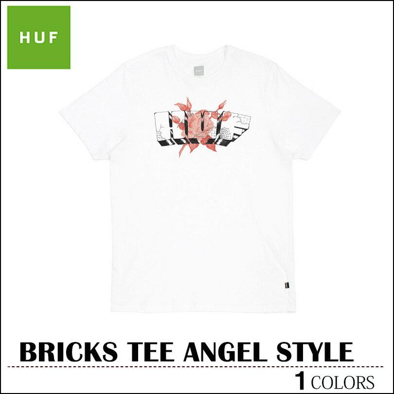 ※HUF-Tシャツ袋対象※【ゆうパケット送料180円】 新作 HUF ハフ Tシャツ ホワイト BRICKS ANGEL STYLE TEE トップス スケート メンズ レディース