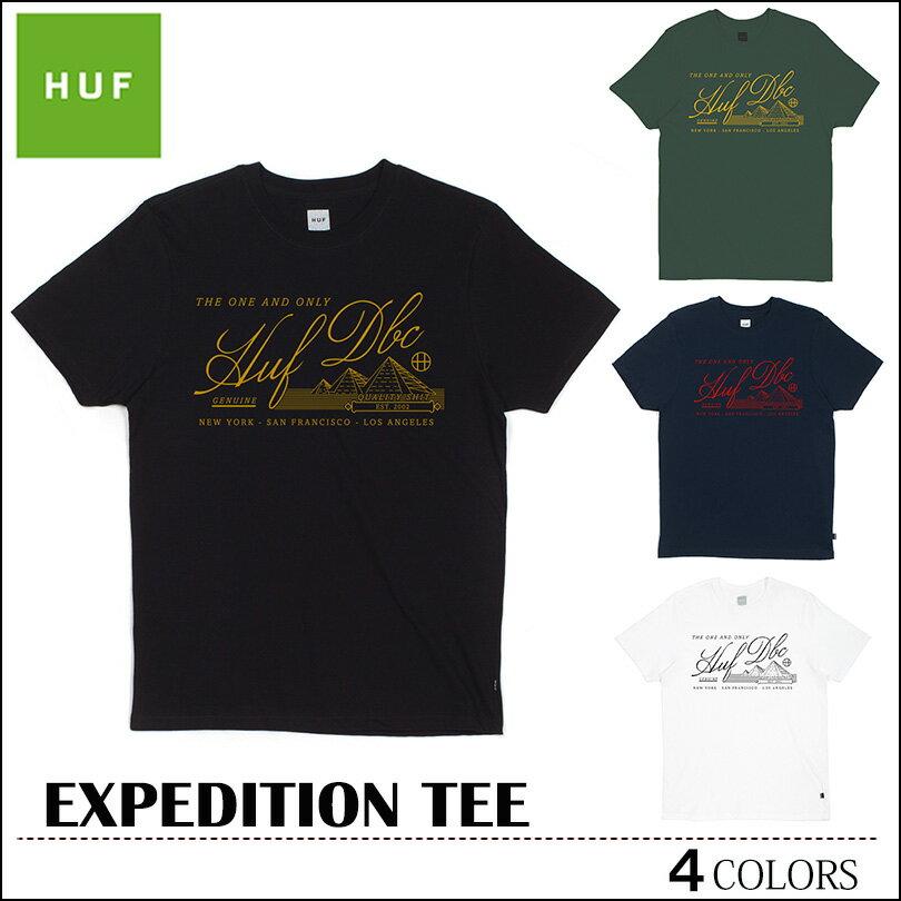 ※HUF-Tシャツ袋対象※【ゆうパケット送料180円】 新作 HUF ハフ Tシャツ ブラック フォレスト ネイビー ホワイト EXPEDITION TEE トップス スケート メンズ レディース