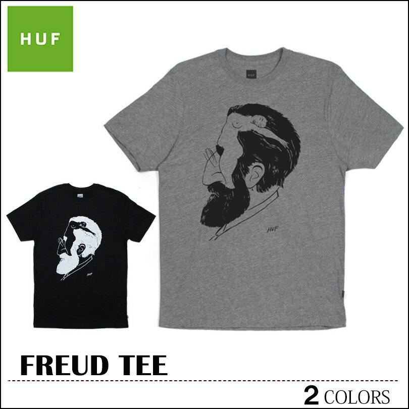 ※HUF-Tシャツ袋対象※【ゆうパケット送料180円】 新作 HUF ハフ Tシャツ ブラック グレーヘザー FREUD TEE トップス スケート メンズ レディース