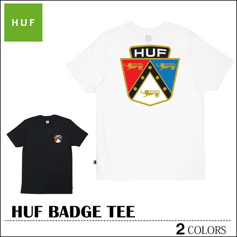※HUF-Tシャツ袋対象※【ゆうパケット送料180円】 新作 HUF ハフ Tシャツ ホワイト ブラック BADGE TEE トップス スケート メンズ レディース