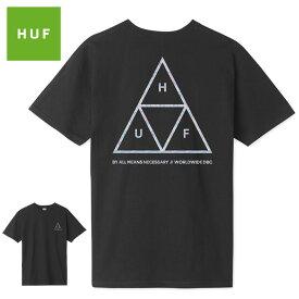【ゆうパケット送料無料】 HUF ハフ Tシャツ HOLOGRAM TRIPLE TRIANGLE TEE トリプルトライアングル ホログラム ブラック シルバー トップス スケート キース ハフナゲル スケーター スケート