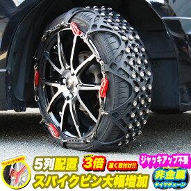 タイヤチェーン 2021年新型 スパイクピン 大幅増加 非金属 スノーチェーン 樹脂チェーン ジャッキアップ不要 簡単 ハンドルロック TPU 熱可塑性ポリウレタン 樹脂素材 採用 ブラック タイヤ チェーン FJ5250