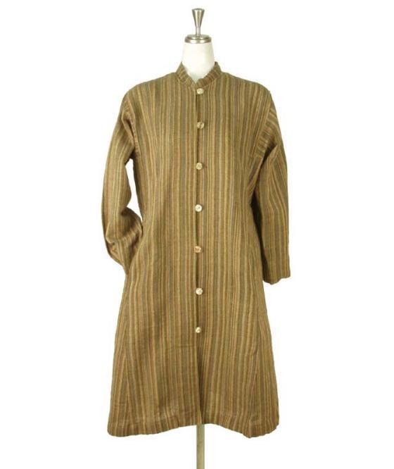 コットン 草木染め コートドレス ロング アウター 綿100% ナチュラル ゆったり フリーサイズ ミセス シニア 40代 50代 60代 70代 秋物 冬物 送料無料きゃら ファッション オリジナル